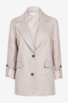 Next Single Breasted Linen Blend Blazer - 285301