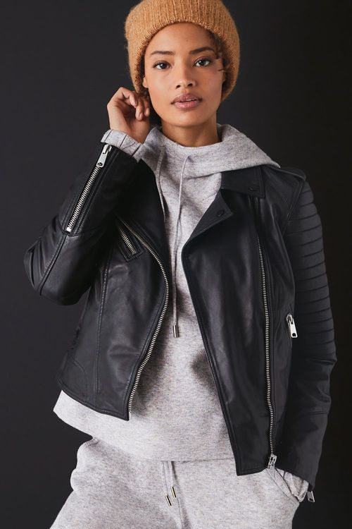 Next Quilted Leather Biker Jacket