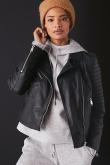 Next Quilted Leather Biker Jacket - 285310