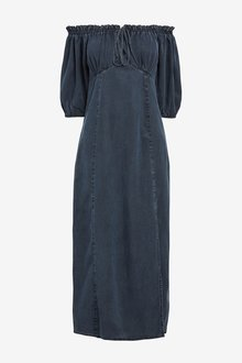 Next Tencel Puff Sleeve Dress-Tall - 285342