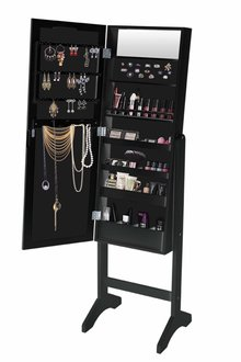 Levede  Free Standing Mirror 18 LED Light Jewellery Cabinet - 285517