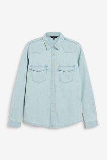 Next Fitted Denim Shirt-Tall - 285617