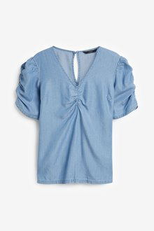 Next TENCEL Ruched Front Short Sleeve Top-Tall - 285618