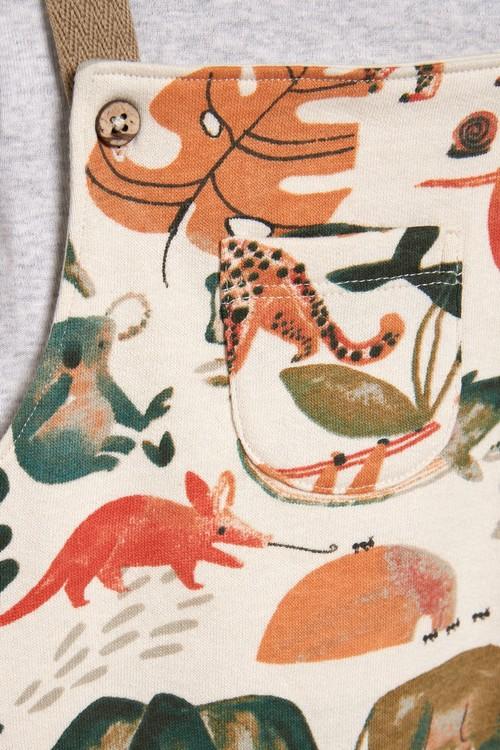 Next GOTS Organic Animal Jersey Dungarees And Bodysuit Set (0mths-3yrs)