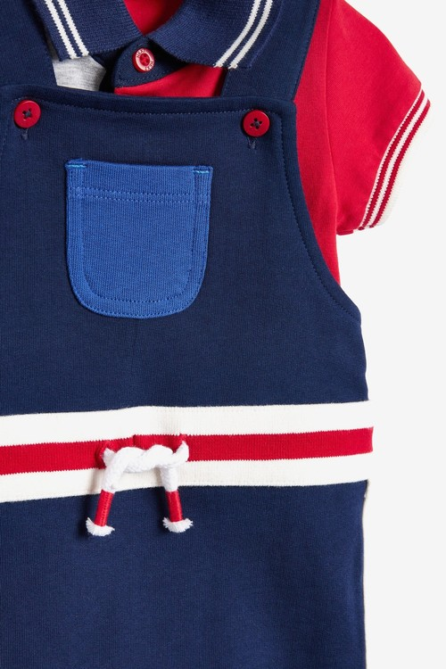 Next GOTS Organic Colour Block Dungaree And Bodysuit Set (0mths-3yrs)