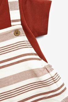 Next Stripe Dungaree and Bodysuit Set (0mths-3yrs) - 285742