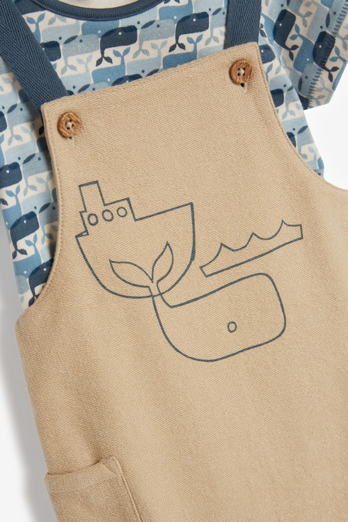Next GOTS Organic Whale Dungaree and Bodysuit Set (0mths-3yrs)