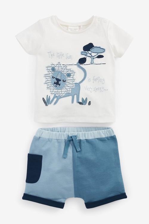 Next 4 Piece Organic Cotton Lion T-Shirts And Shorts Set (0mths-3yrs)