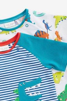 Next 2 Pack GOTS Organic Dinosaur Stretch T-Shirts (0mths-2yrs) - 285807