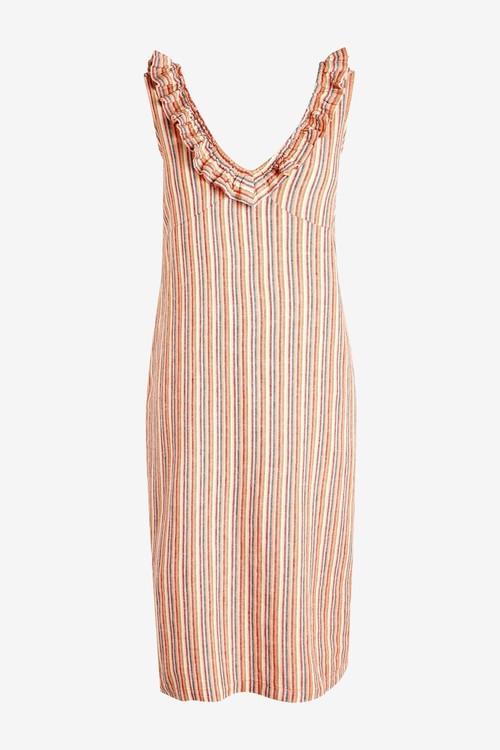 Next Linen Mix Ruffle Dress-Tall
