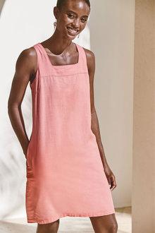 Next Linen Blend Square Neck Dress - 285902