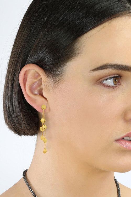 By Fairfax and Roberts Boho Multi Charm Triple Chain Earrings