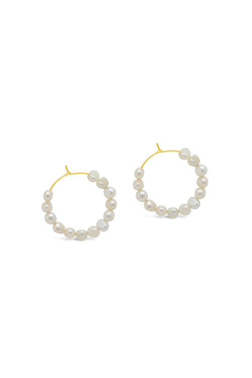 By Fairfax and Roberts Real Freshwater Mini Pearl Bubble Hoop Earrings