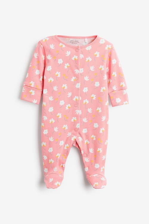 Next 5 Pack GOTS Organic Bunny Floral Sleepsuits (0-2yrs)