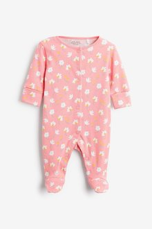 Next 5 Pack GOTS Organic Bunny Floral Sleepsuits (0-2yrs) - 286025