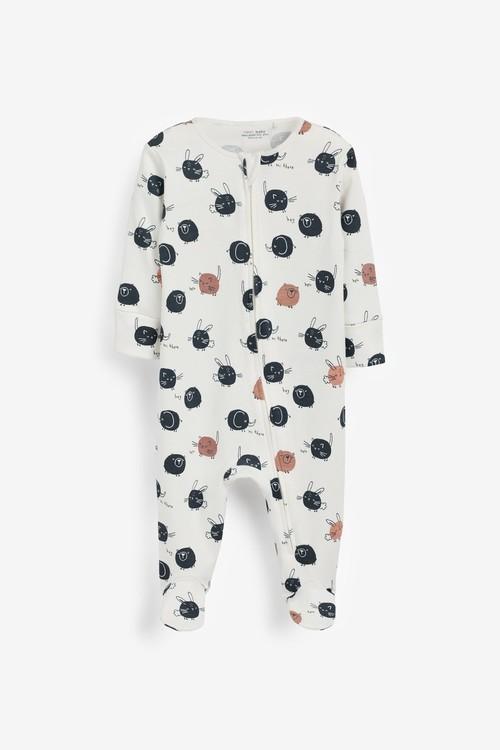 Next 2 Pack Zip Sleepsuits (0-3yrs)