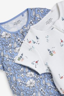 Next 2 Pack Organic Cotton Zip Rompers (0mths-3yrs) - 286035