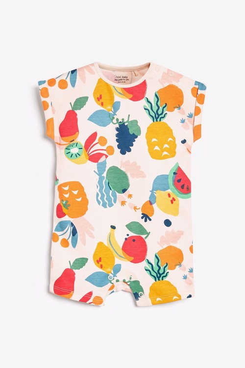 Next 3 Pack GOTS Organic Fruit Print Rompers (0mths-3yrs)