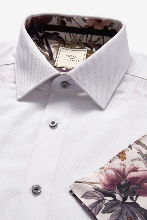 Next Shirt With Floral Trim And Pocket Square Set