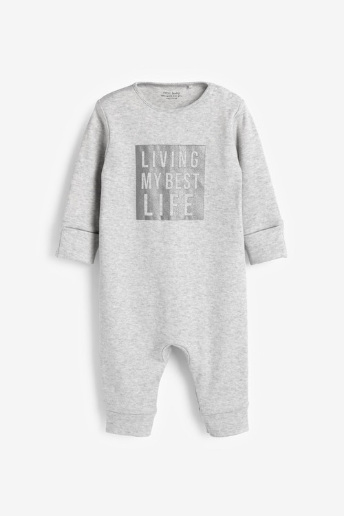 Next 3 Pack Slogan Footless Sleepsuits (0mths-3yrs)