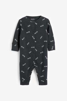 Next 3 Pack Slogan Footless Sleepsuits (0mths-3yrs) - 286066