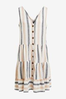 Next Tiered Viscose/Linen Look Mini Dress-Tall - 286111