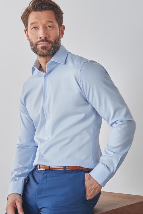 Next Signature Textured Shirt With Trim Detail-Slim Fit Single Cuff