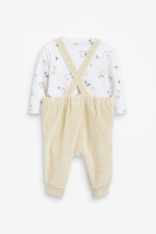 Next Velour Dungarees And Bodysuit Set (0mths-2yrs)