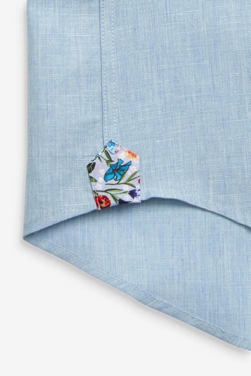 Next Cotton Linen Floral Trim Shirt-Regular Fit Short Sleeve