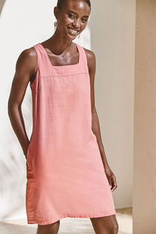 Next Linen Blend Square Neck Dress-Tall - 286144