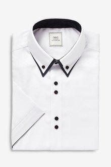 Next Double Collar Shirt-Regular Fit Short Sleeve - 286177
