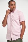 Next Cotton Linen Floral Trim Shirt-Slim Fit Short Sleeve
