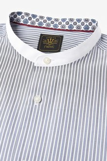 Next Stripe Grandad Collar Shirt - 286194