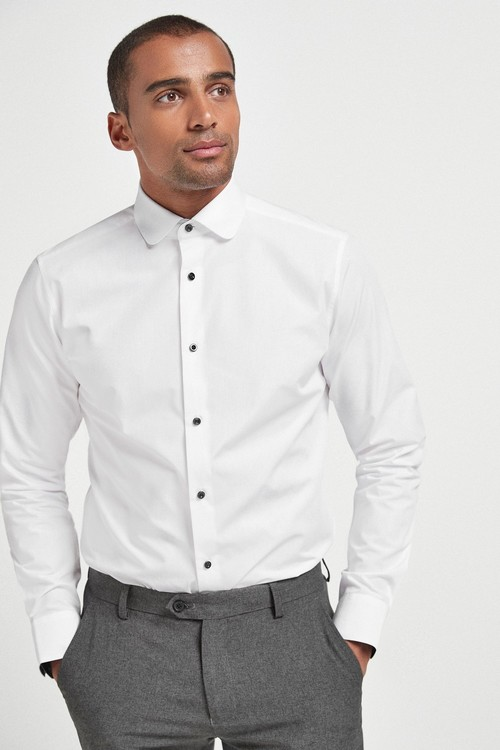 Next Easy Care Penny Collar Shirt With Contrast Trim