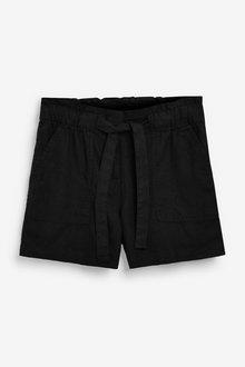 Next Linen Blend Tie Waist Shorts - 286215