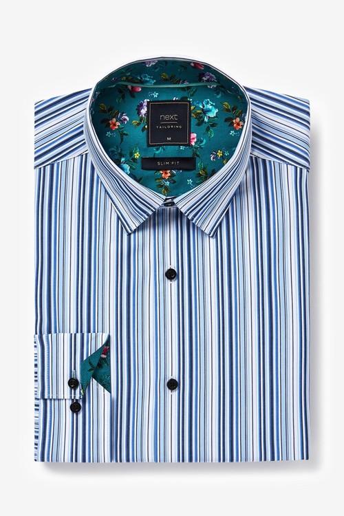 Next Stripe Shirt With Floral Trim Detail