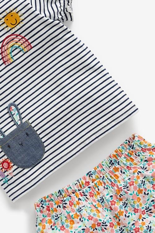 Next 3 Piece Character T-Shirt, Floral Shorts And Headband Set (0mths-