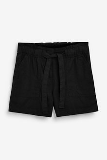 Next Linen Blend Tie Waist Shorts-Tall - 286315
