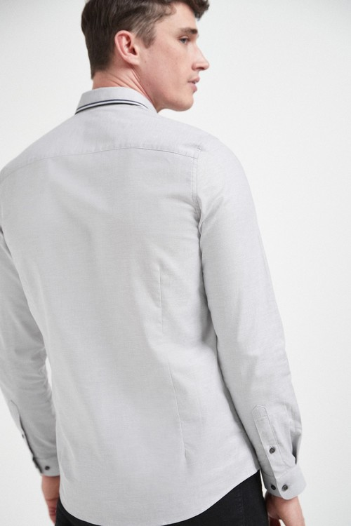 Next Stretch Oxford Tipped Collar Long Sleeve Shirt-Slim Fit