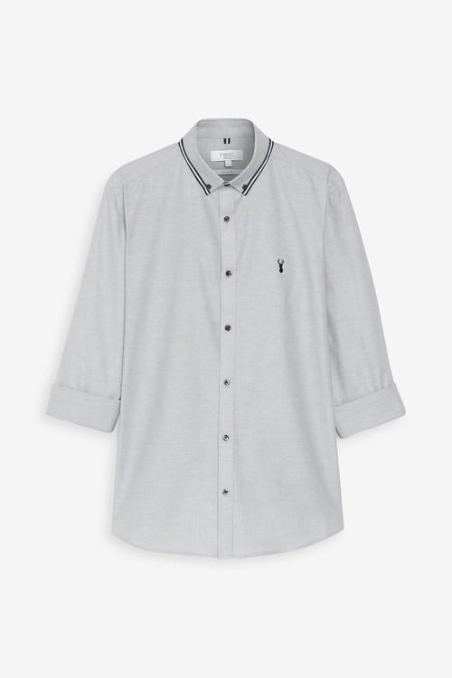 Next Stretch Oxford Tipped Collar Long Sleeve Shirt-Tall