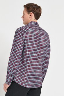 Next Gingham Long Sleeve Stretch Oxford Shirt-Slim Fit - 286414