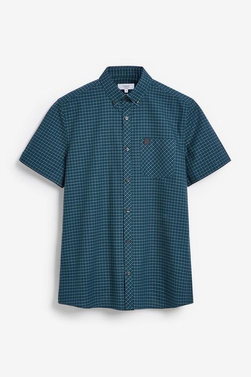 Next Regular Fit Short Sleeve Gingham Stretch Oxford Shirt