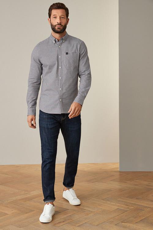 Next Gingham Long Sleeve Stretch Oxford Shirt-Tall