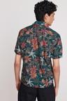 Next Floral Print Short Sleeve Shirt-Slim Fit