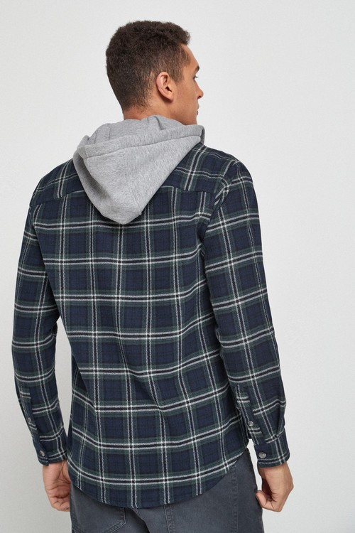 Next Brushed Flannel Heavyweight Hooded Check Shacket