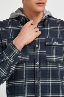 Next Brushed Flannel Heavyweight Hooded Check Shacket - 286515