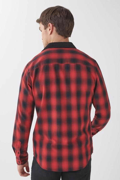 Next Contrast Collar Checked Long Sleeve Shirt