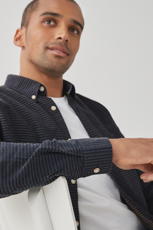 Next Textured Roll Sleeve Shirt