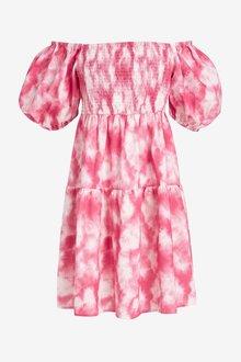 Next Broderie Puff Sleeve Dress - 286823