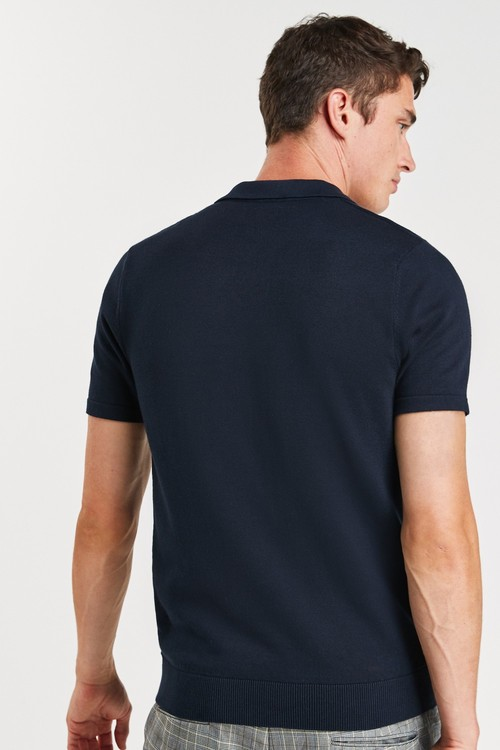 Next Vertical Stripe Cotton Zip Knitted Polo